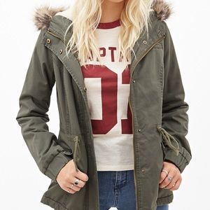 Puffer Hooded Army Green Jacket